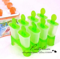 Ice Cream Tubs Plastic ECO Friendly A Free shipping+wholesales 8 Cell Frozen Ice Cream Pop Mold Popsicle Maker Lolly Mould Tray Kitchen DIY 14*10*12.5cm