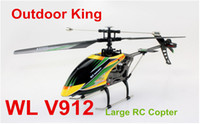 other other other Wholesale-WL toy V912 2.4GH 4 CH big Large outdoor Remote Control helicopter RC Gyro Quad copter electronic boy toys gift Helicopter Free