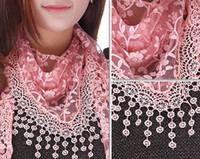 Wholesale Fashion women triangle tassel scarf lace sheer metallic floral print shawl tassel mantilla pendants charm scarves wraps hood gifts colors