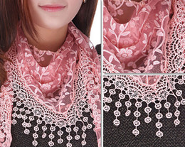 Fashion women triangle tassel scarf lace sheer metallic floral print shawl tassel mantilla pendants charm scarves wraps hood gifts 16colors