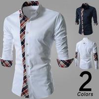 Wholesale Men shirt casual shirt mens dress shirts polo mens floral print shirt men s long sleeve shirt plaid shirt stitching