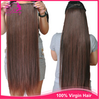 Natural Color virgin brazilian hair clip in - 100 Human Full Head Clip In Hair Extensions Straight Ponytail Virgin Brazilian Hair Weave piece g With Clips