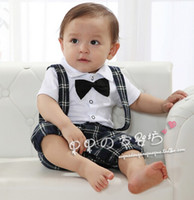 Boy Summer Short boys gentleman rompers baby bow tie short sleeve bodysuits children False two suspenders boy clothing