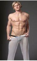 Cheap #M01-6 Men fashion male low-waist U bag mesh transparent gauze breathable underwear sleeping lounge pajamas sleep bottoms