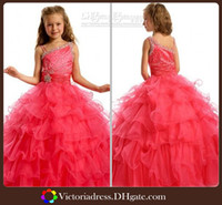 Reference Images Girl Beads New Collections Ball Gown Pageant Dresses Little Girls Formal Occasion Floor Length Tiered Beaded Ribbons Vestidos Long Kids Prom Gown