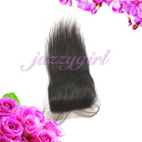 Brazilian Hair Natural Color Straight Unprocessed Virgin Brazilian Straight Hair Silk Base Closure 4''x4'', Lace Top Closure Bleached Knots,Queen Hair Beauty,Fast Free Shipping