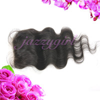Brazilian Hair Natural Color Body Wave Unprocessed Virgin Brazilian Body Wave Hair Silk Base Closure 4''x4'', Lace Top Closure Bleached Knots,Queen Hair Beauty,Fast Free Shipping