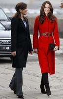 Coats Women Cotton Drop Shipping New Europe Womens Warm Wool Long Double Breasted Red Coat