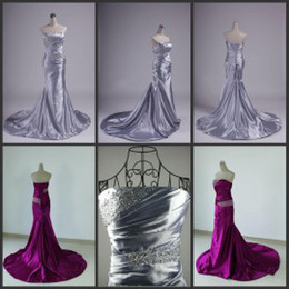 Wholesale Best Selling Mermaid Evening Dresses Sexy Beaded Strapless Lace up Sweep Train Pleats Silver Stretch Satin Elegant Mermaid Prom Dresses