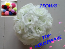 15CM 6INCH 6pcs 16colors artificial rose flower ball wedding flower ball kissing ball wedding supermarkdet deoration hangings