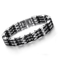 Wholesale Stainless Steel Men Bracelet Luxury Bicycle Chain High Quality Silver Charm Male Jewelry Lover Gifts S002