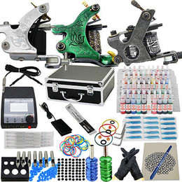 Wholesale USA Dispatch Complete Pro starter Tattoo kit machine guns inks power supply Beginner Set