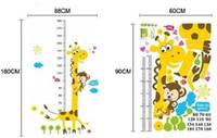 Graphic vinyl PVC Cartoon Naughty Cartoon Giraffe Monkey Decorated Decal Wall Art Stickers with Height Chart