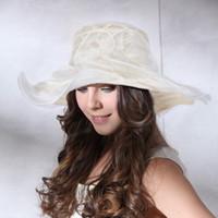Wholesale A001 Ladies Kentucky Derby Vintage Summer Sun hat wide brim wedding church