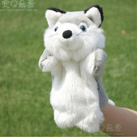 Unisex 5-7 Years Gray Small fox puppet toy child gloves dolls story telling props ship randomly