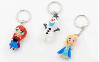 Wholesale Hot sale new Toy Rubber Elsa Anna and Olaf Figure KeyChain