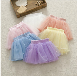 Spring Fall Baby Ball Gown Skirt Cute Sweet Candy Colour Toddler Girl Tutu Skirt Kids Short Skirts Net Yarn Pearl Child Underwear GX560