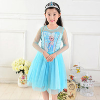 TuTu Summer Ball Gown 2014 Hot Frozen Lace Gauze Dress Kids Children Clothing Princess Elsa Tulle Yarn Dresses Child Kid Snow Queen Dressy Blue,5 Pcs Lot