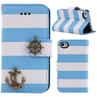 For Apple iPhone Leather  1PC Light Blue and White Horizontal Stripes Anchor and Rudder PU Leather Wallet Case Cover Shell with Stand Function for iPhone 5 5S