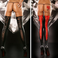 Woman faux leather stocking  faux leather  2014 Women's Wetlook Faux Leather latex Thigh High stocking bandage Over knee Tights for miniskirt dress lingerie