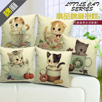 Wholesale cm high density cotton linen cushion cover pillow cover top quality gift pillow case quot little lovely cat in teacup series quot