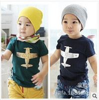 Boy baby pictures boys - Children s Discount price kids clothes pure cotton plane picture short sleeve boys girls T shirt Year children tee shirts baby T shirt
