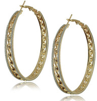 Wholesale pairs NEW Fashion Jewelry European and American style k gold plated big hoop earrings patterns