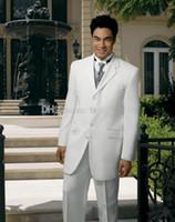 Wool Blend Reference Images Harris Tweed Custom Made White Groom Tuxedos Notch Lapel Best Man Groomsmen Men Wedding Suits Bridegroom (Jacket+Pants+Vest+Tie) SS45
