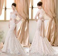 2014 Sheer Bridal Jacket - Amazing Atelier Aimée Sheer Square Neck Bridal Gowns Champagne Sash Lace Mermaid Plus Size Garden Wedding Dresses With Jacket DL1312652