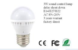 Wholesale 3W W W LED Sound Control Sensor Lamp Sound Control Activated Light Corridor Light E14 E27 B22 AC V energy saving factory direct