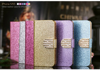 For Apple iPhone Leather multi 50pcs new bling luxury leather case for iphone 5 5s 4s 4 case cover with gold shining button wallet bag credit card holder 6 colors