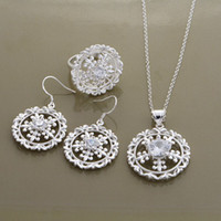 Others Celtic Women's Wholesale - New design Circle Hollow Pattern Series Jewey Sets 925 Silver Plated Earrings Necklace Ring Jewery Sets Free Shipping AT560