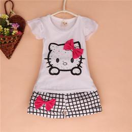 Wholesale 2014 New Children Gril s Short Sleeve KT Plaid Short Pant Outfits Top Shirt Hot Pant Sets T0701