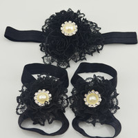 Wholesale MOQ set Black headband sandal new baby Girl Shoes wedding lace Flower Sandals Baby kid Infant Toddler hair accessories Footwear