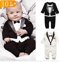 Cheap Retail !! Fashion Newborn Baby Boys Cotton Long Sleeve Rompers Kids Climb Toddler Infant Gentleman Modelling Clothing