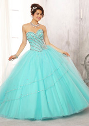 Wholesale New Breathtaking Aqua Sweetheart Jewel Beaded Bodice on a Tulle Ball Gown Skirt Quinceanera Dresses Prom Party Gown