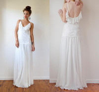 Trumpet/Mermaid Reference Images Lace LM Hot Sale 2014 Spaghetti Straps White Beach Wedding Dresses with Lace Floor Length Backless A-line Boho Chiffon&Lace Summer Bridal Gown