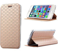 Shinning Grid ultra slim soporte PU funda de piel cubierta de piel para iPhone6 iPhone 6 4,7 pulgadas flip case