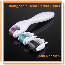 Wholesale 600 Needles Changeable Head Micro Derma Roller Rolling System Device For Acne Scar Treatment Facial Beauty Skin Rejuvenation DHL Free