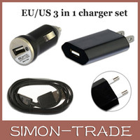 Wholesale 3 in sets Micro USB Data Cable Mini Car Charger AC EU US Wall Charger For Samsung S4 S3 S5 HTC with retail package
