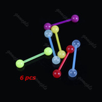 Other Trendy Navel & Bell Button Rings 6Pc Mixed Color Noctilucent Acrylic Tongue Nipple Bar Ring Barbell Body Piercing-PY