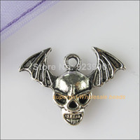 Charms halloween charms - Tibetan Silver Halloween Skull Charms Pendants x21 mm For Jewelry Making Craft DIY