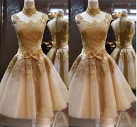 Dark champagne lace applique short prom dresses 2014 high co...