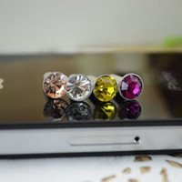 enchufes de rhinestone para el teléfono al por mayor-Accesorios de lujo del teléfono pequeño enchufe del auricular del enchufe del polvo del Rhinestone 3.5mm del diamante para Iphone Ipad Samsung HTC 1000pcs / lot