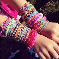 Unisex 8-11 Years Multicolor beautiful loom for kids Loom bands Top Quality Best Toys Store Rainbow Loom Kit Christmas Toys Genuine Bracelet Maker kits DHL Ship