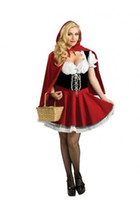 Wholesale Capes Costume Red Riding Hood - Free ShippingSexy Little Red Riding Hood Cape Fancy Dress Fairy Tale Costume Plus Size AME8227