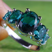 Wholesale Oval Cut Green Sapphire Gemstones Silver Ring Size
