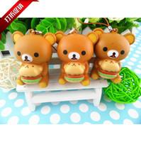 Wholesale Cute brown bear rilakkuma PU simulation easily bag pendant squishy phone keys