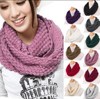 Circle Scarves scarf - Hot Sales Women Men Warm Knit Neck Circle Wool Cowl Snood Long Scarf Shawl Wrap ax30