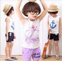 Wholesale The new baby kids lovely boat suit short sleeved summer vest t shirt shorts boy casual set children sets set GX564